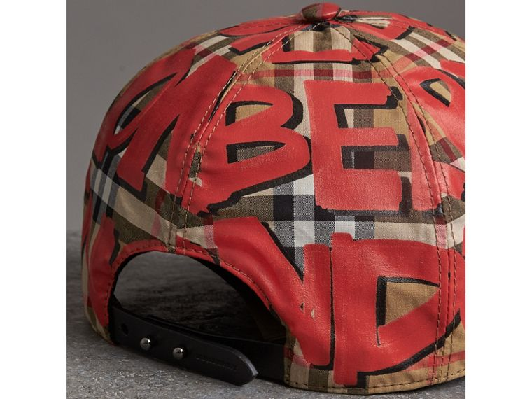 Graffiti Print Vintage Check Baseball Cap in Red | Burberry Australia - cell image 4