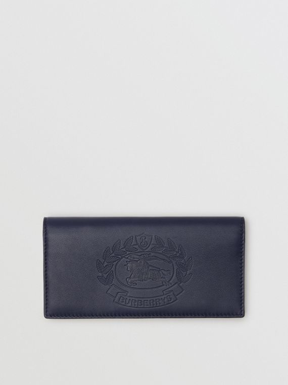 Embossed Crest Leather Continental Wallet in Regency Blue