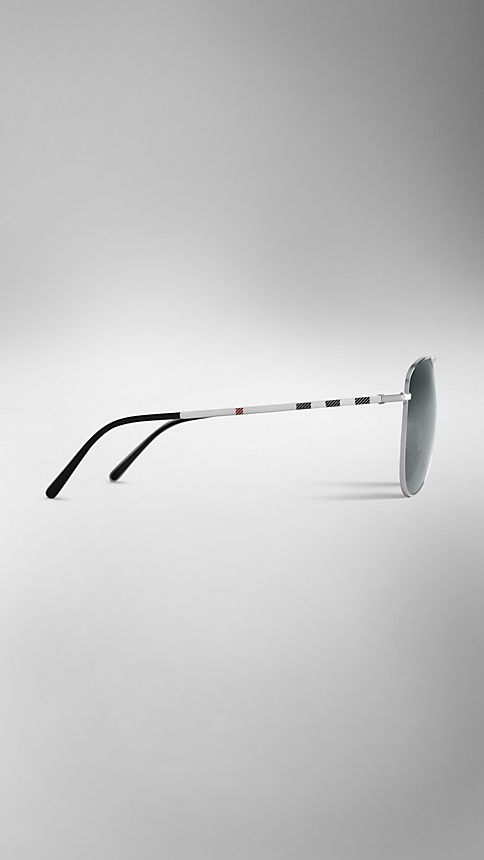Silver Check Arm Aviator Sunglasses - Image 4