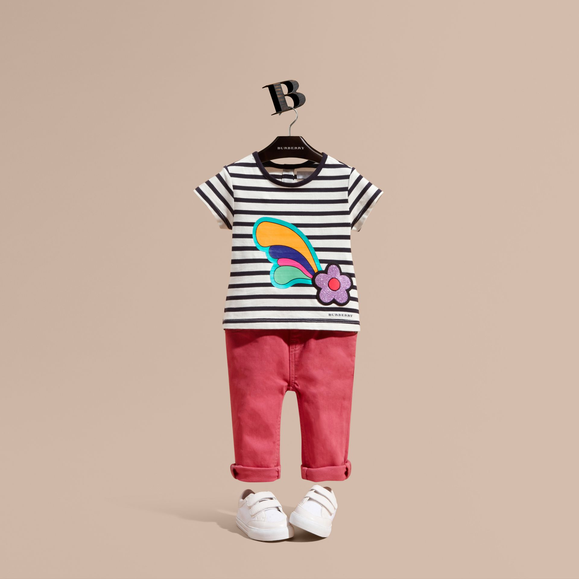 Striped Cotton T-shirt with Print and Flower Appliqué - gallery image 1