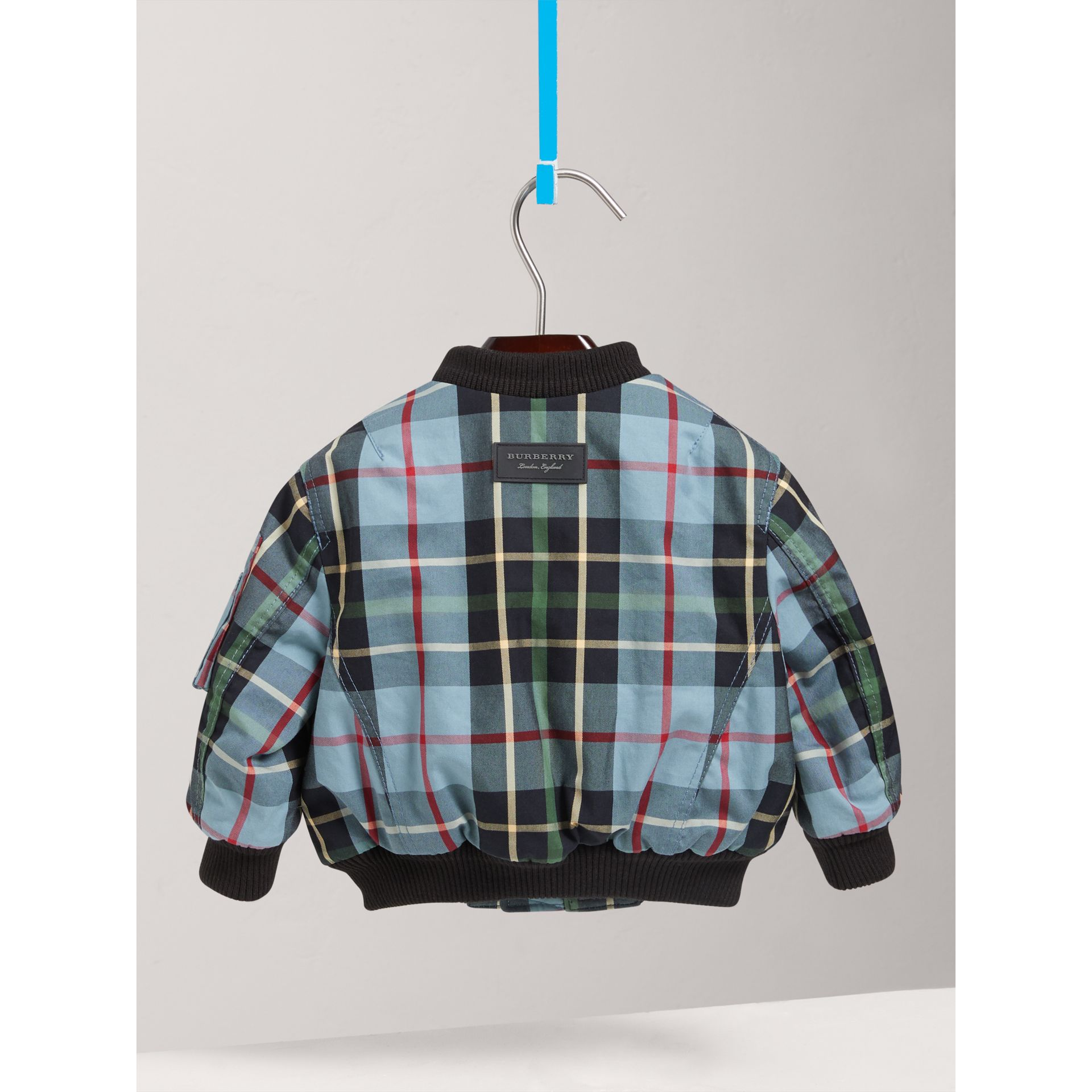 Tartan Padded Cotton Gabardine Bomber Jacket in Cyan Blue | Burberry - gallery image 3