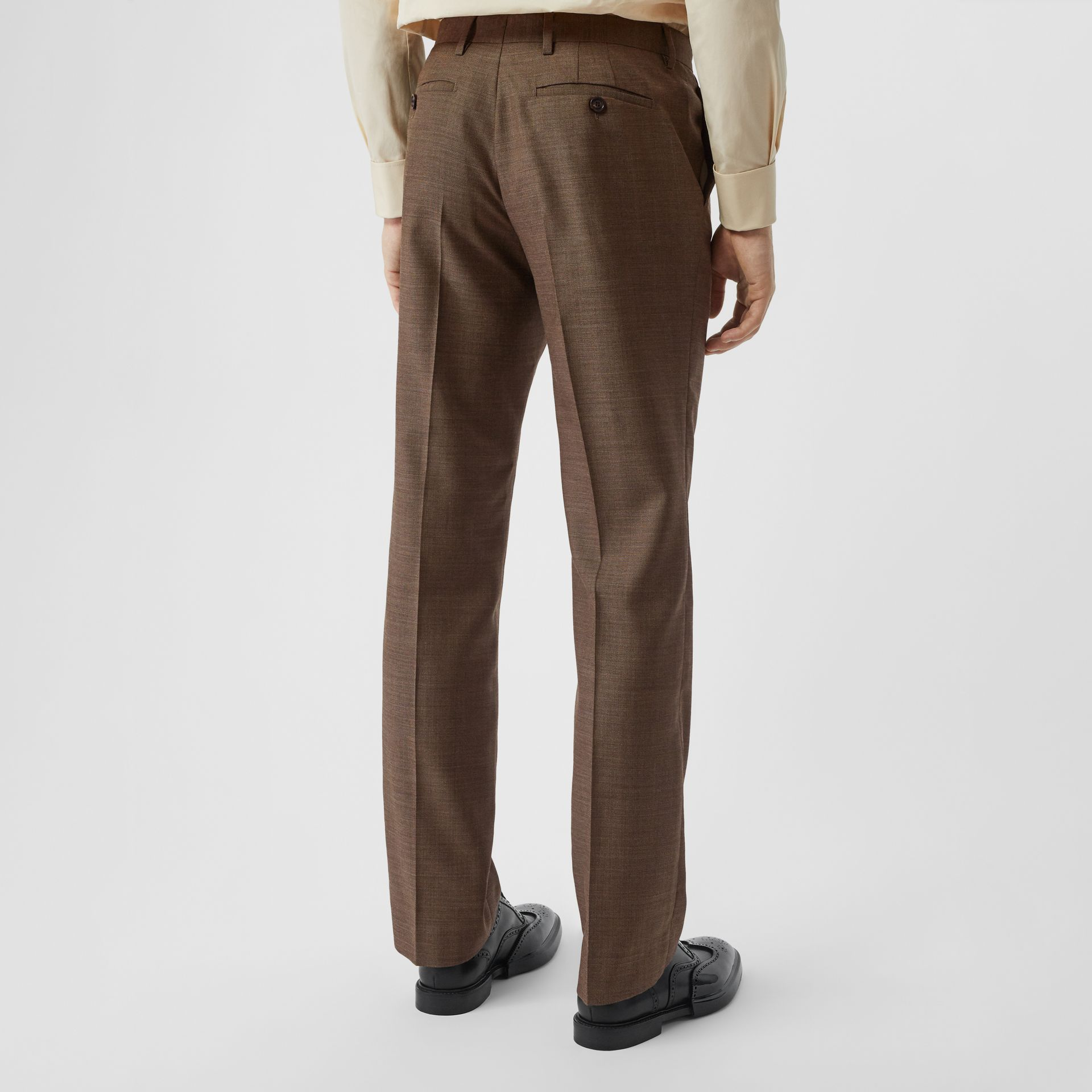 Sharkskin Wool Tailored Trousers in Deep Brown - Men | Burberry - gallery image 2