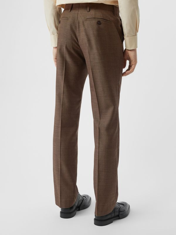 Sharkskin Wool Tailored Trousers in Deep Brown - Men | Burberry - cell image 2