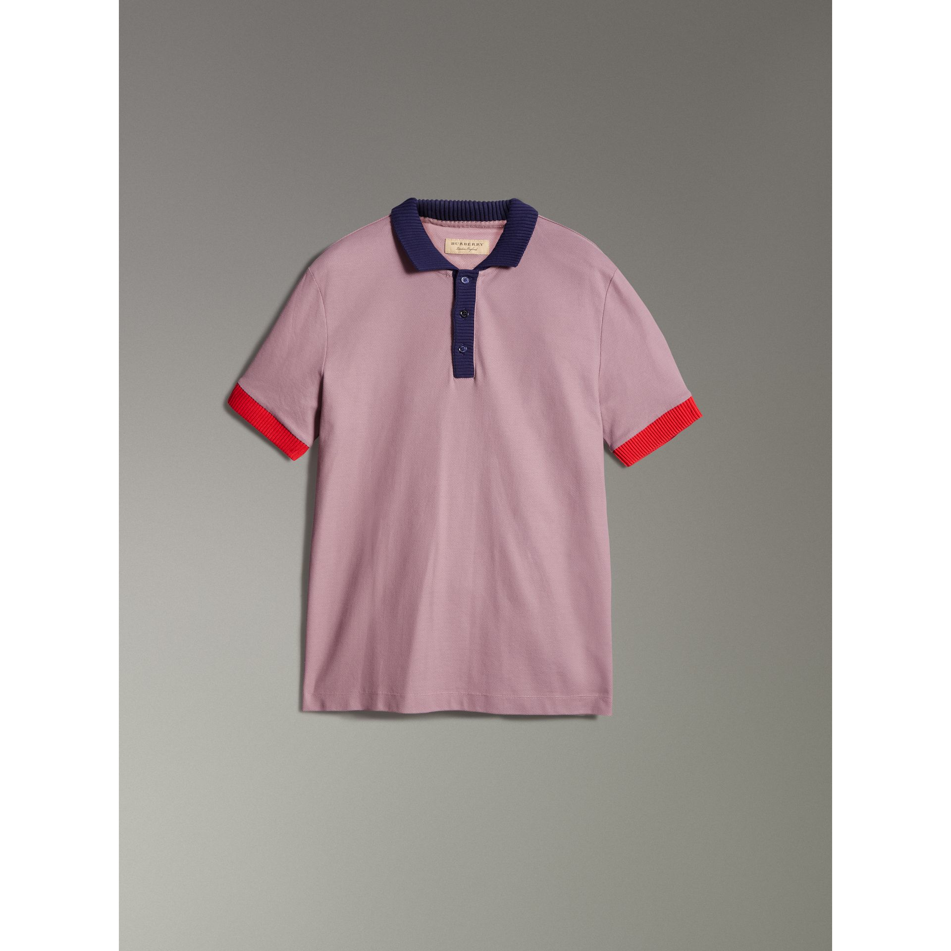 Two-tone Stripe Knitted Detail Cotton Polo Shirt in Heather Pink - Men | Burberry - gallery image 3