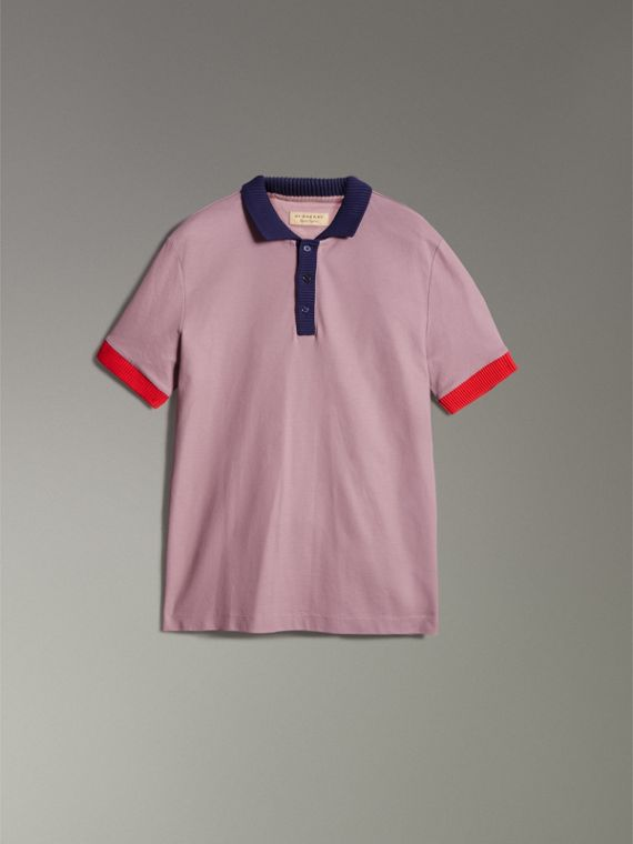 Two-tone Stripe Knitted Detail Cotton Polo Shirt in Heather Pink - Men | Burberry United Kingdom - cell image 3