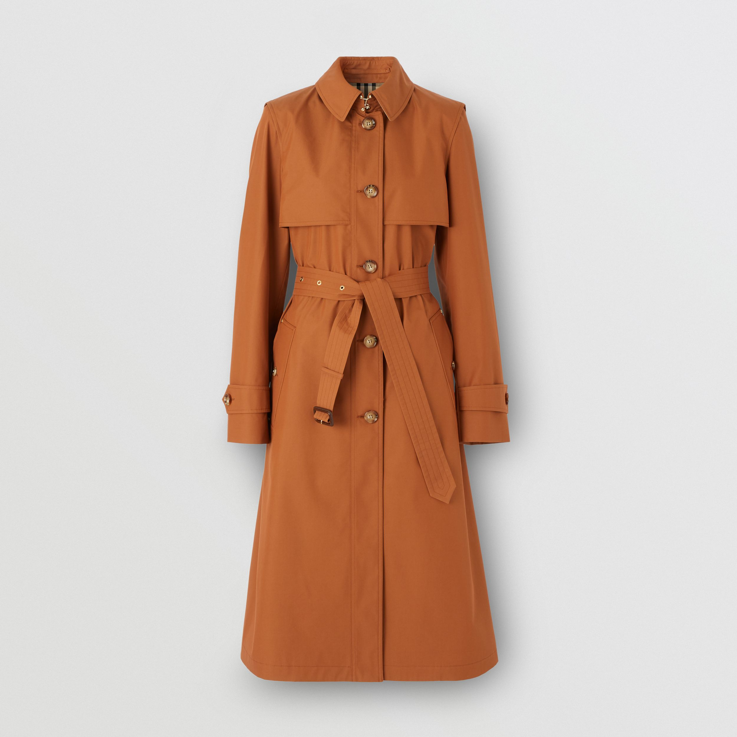 Technical Cotton Gabardine Trench Coat in Chestnut Brown - Women | Burberry - 4