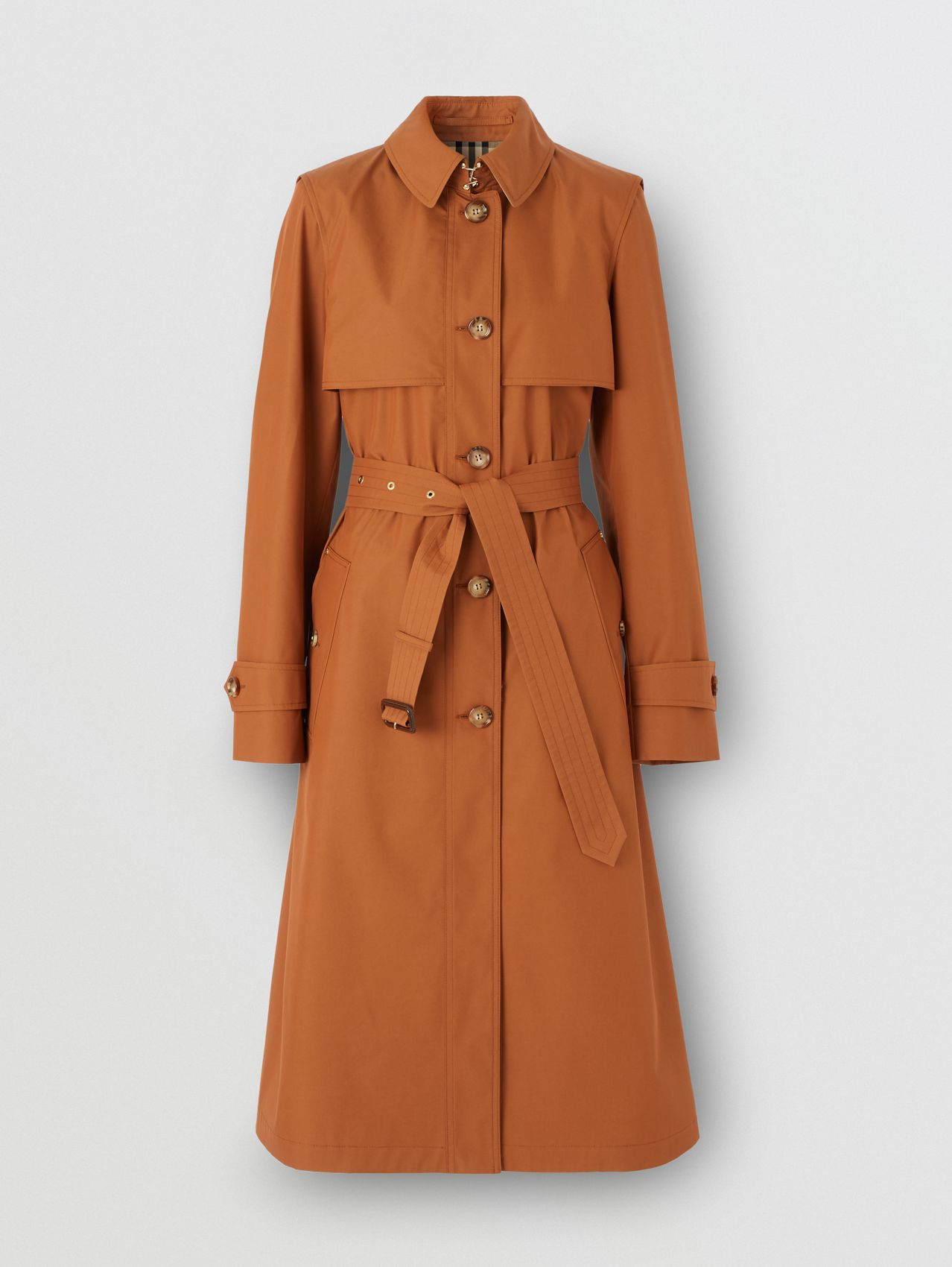Technical Cotton Gabardine Trench Coat in Chestnut Brown