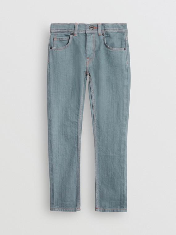Calças jeans stretch com corte skinny (Azul Terroso)