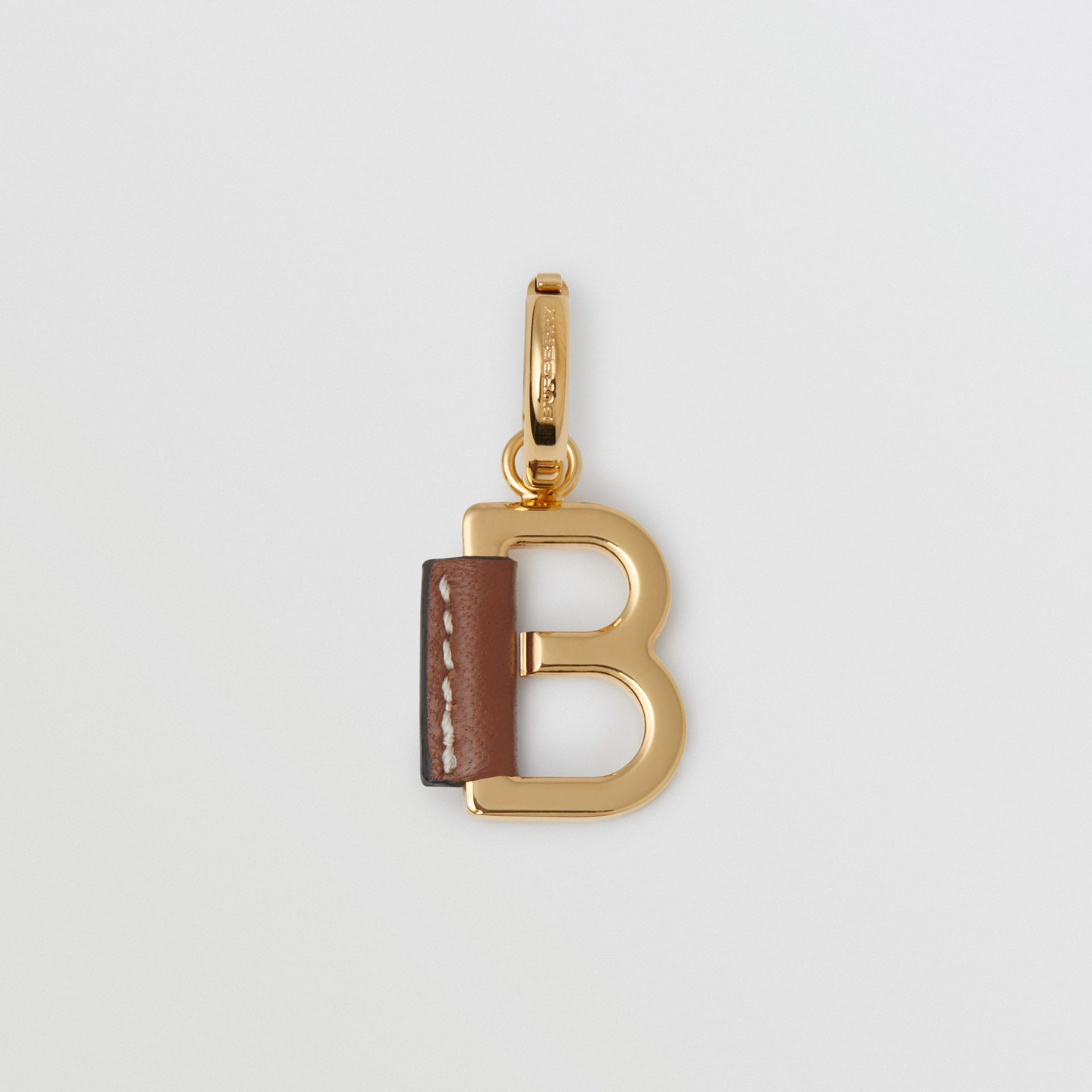 Leather-wrapped 'B' Alphabet Charm in Light Gold/tan | Burberry - gallery image 0