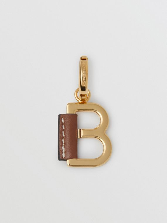 Leather-wrapped 'B' Alphabet Charm in Light Gold/tan