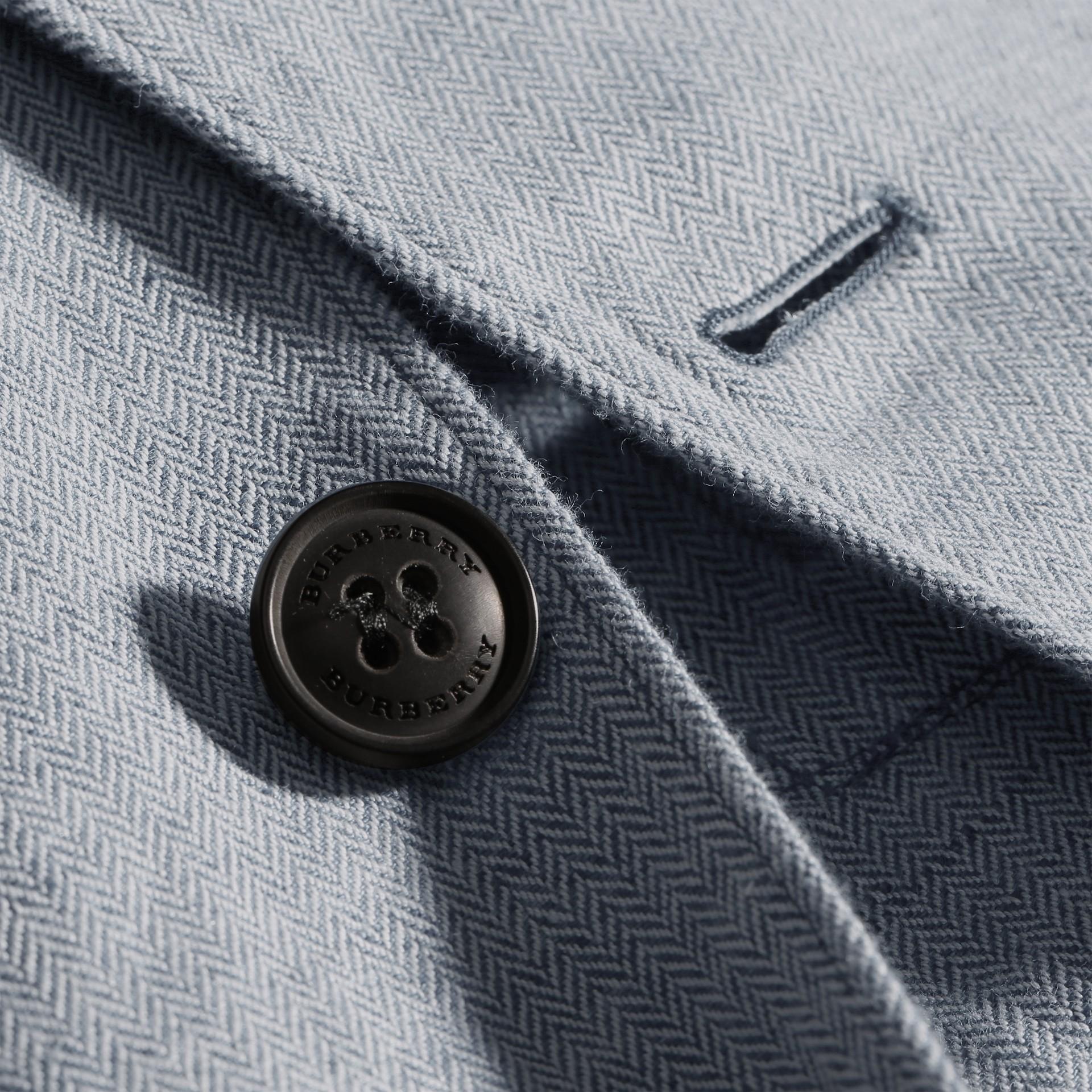 Pale blue Herringbone Linen Cotton Tailored Jacket Pale Blue - gallery image 2