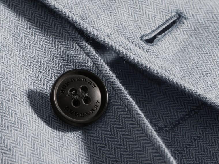 Pale blue Herringbone Linen Cotton Tailored Jacket Pale Blue - cell image 1