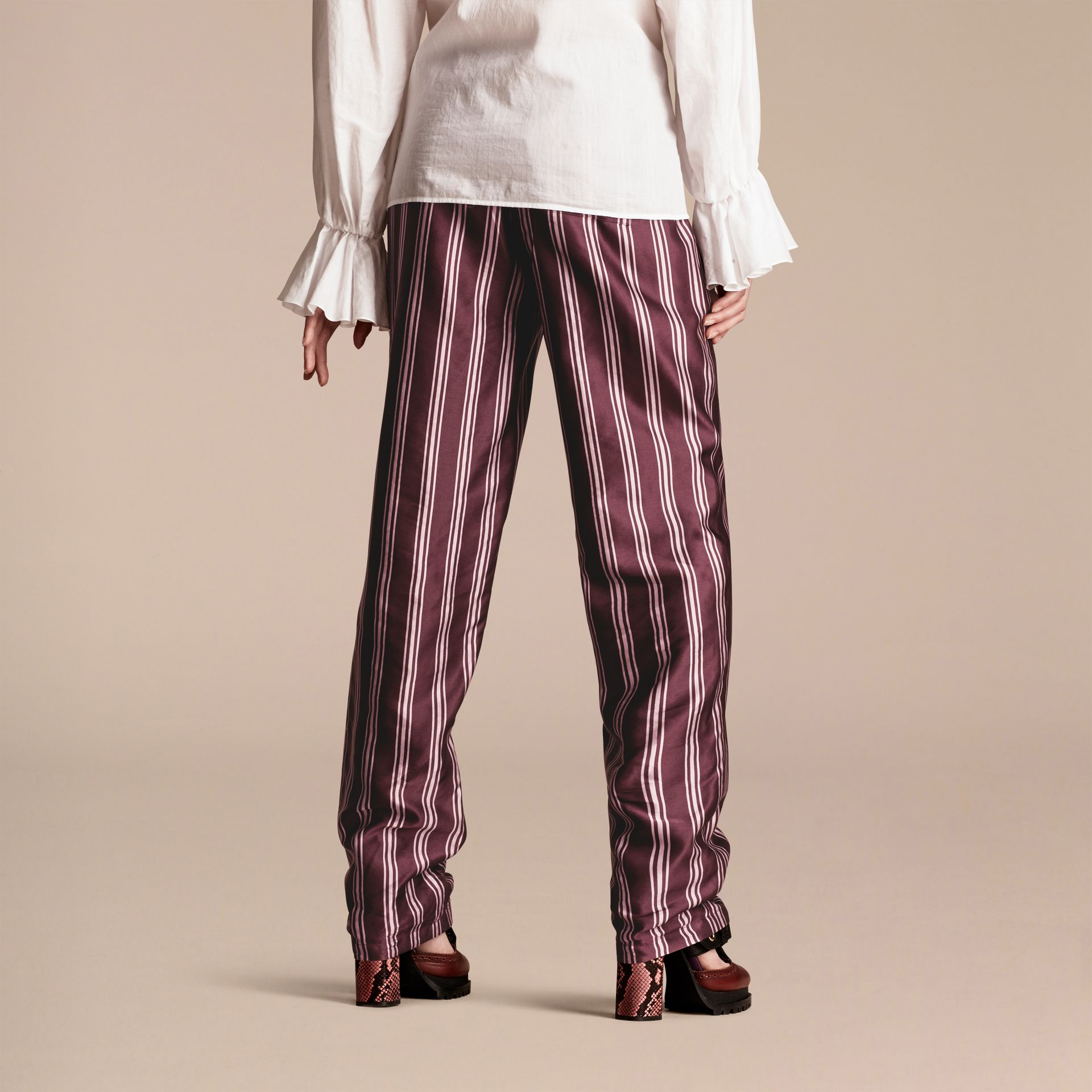 Crimson Panama Stripe Cotton Silk Satin Pyjama-style Trousers - gallery image 3