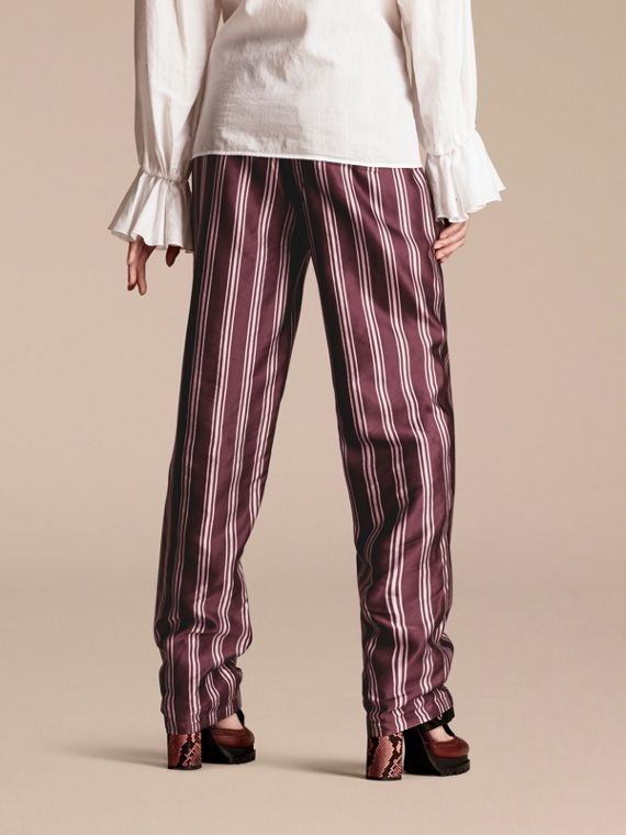 Crimson Panama Stripe Cotton Silk Satin Pyjama-style Trousers - cell image 2
