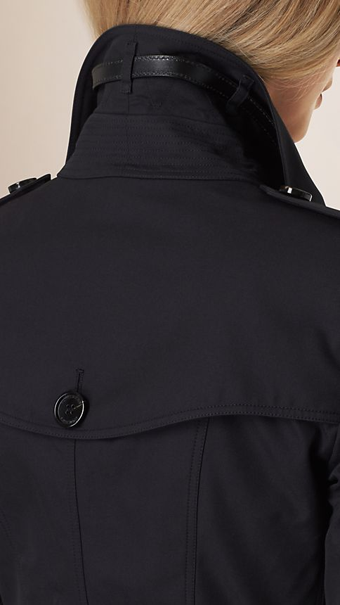 Navy Leather Detail Gabardine Trench Coat - Image 4