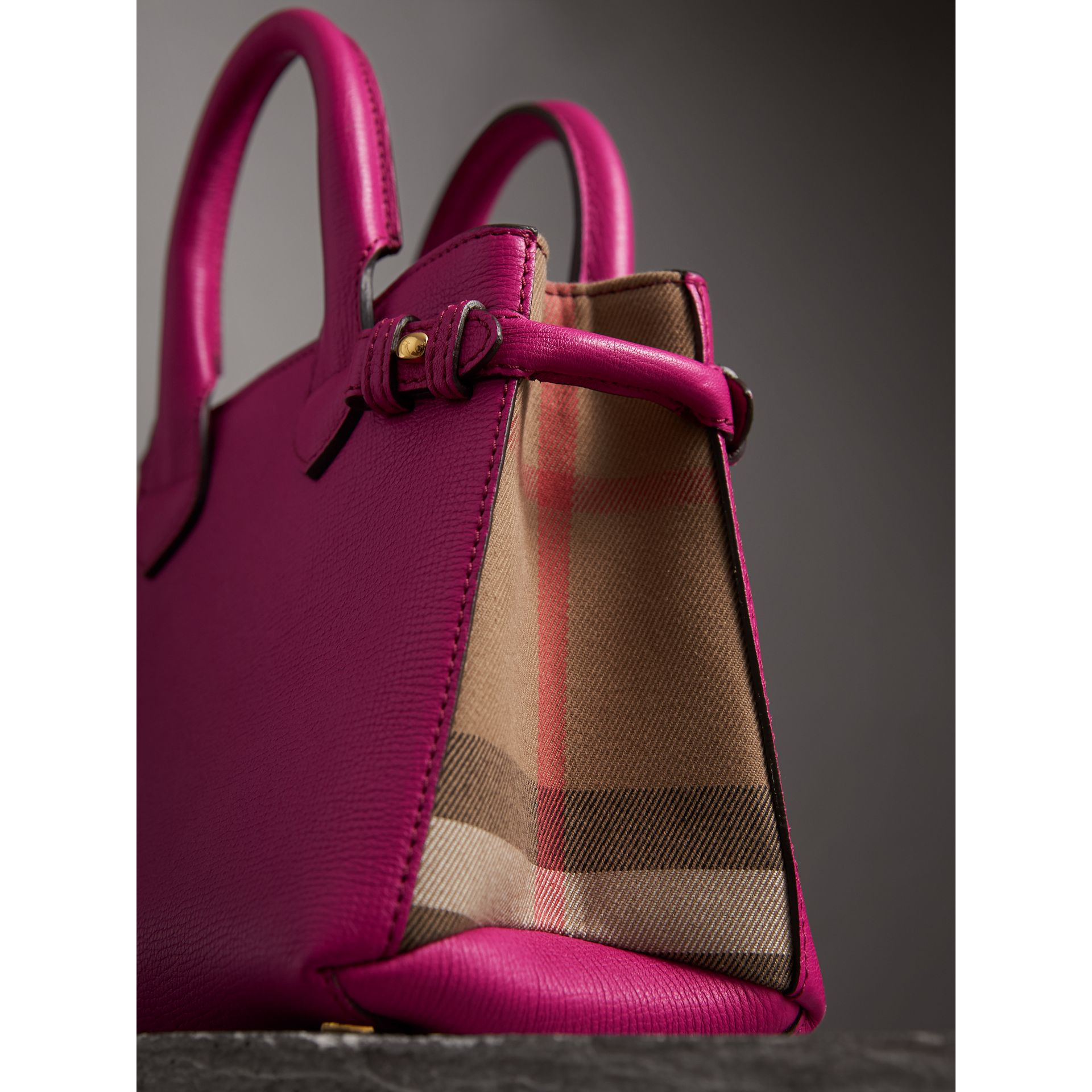 The Baby Banner in Leather and House Check in Brilliant Fuchsia - Women | Burberry Australia - gallery image 2