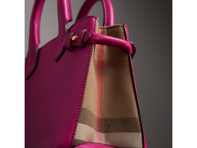 The Baby Banner in Leather and House Check in Brilliant Fuchsia - Women | Burberry - cell image 1