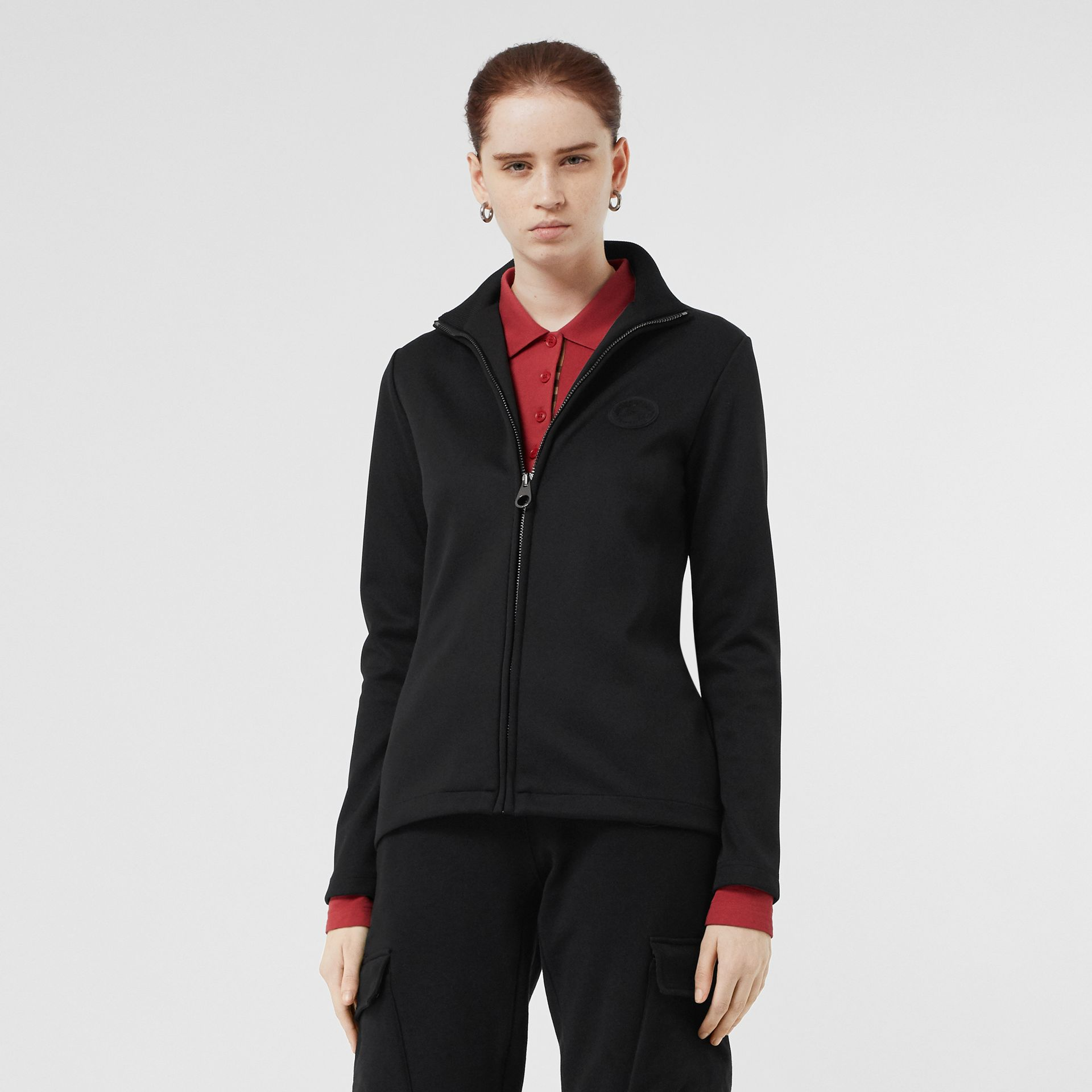 Crest Detail Funnel Neck Track Top in Black - Women | Burberry - gallery image 4