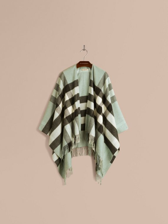 Menthe cendrée Poncho en cachemire et laine à motif check Menthe Cendrée - cell image 3