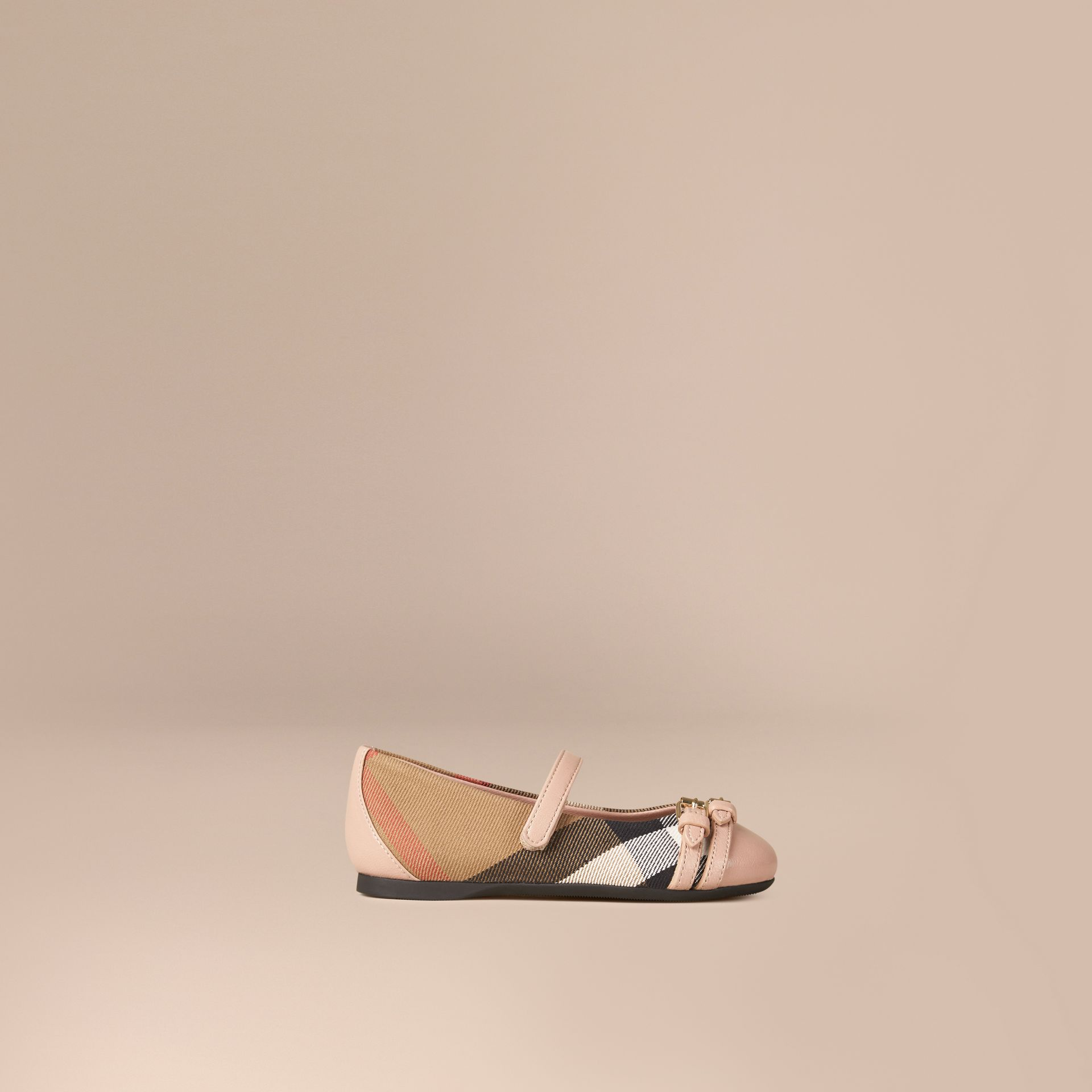 Nude blush Belt Detail House Check Ballerinas - gallery image 1