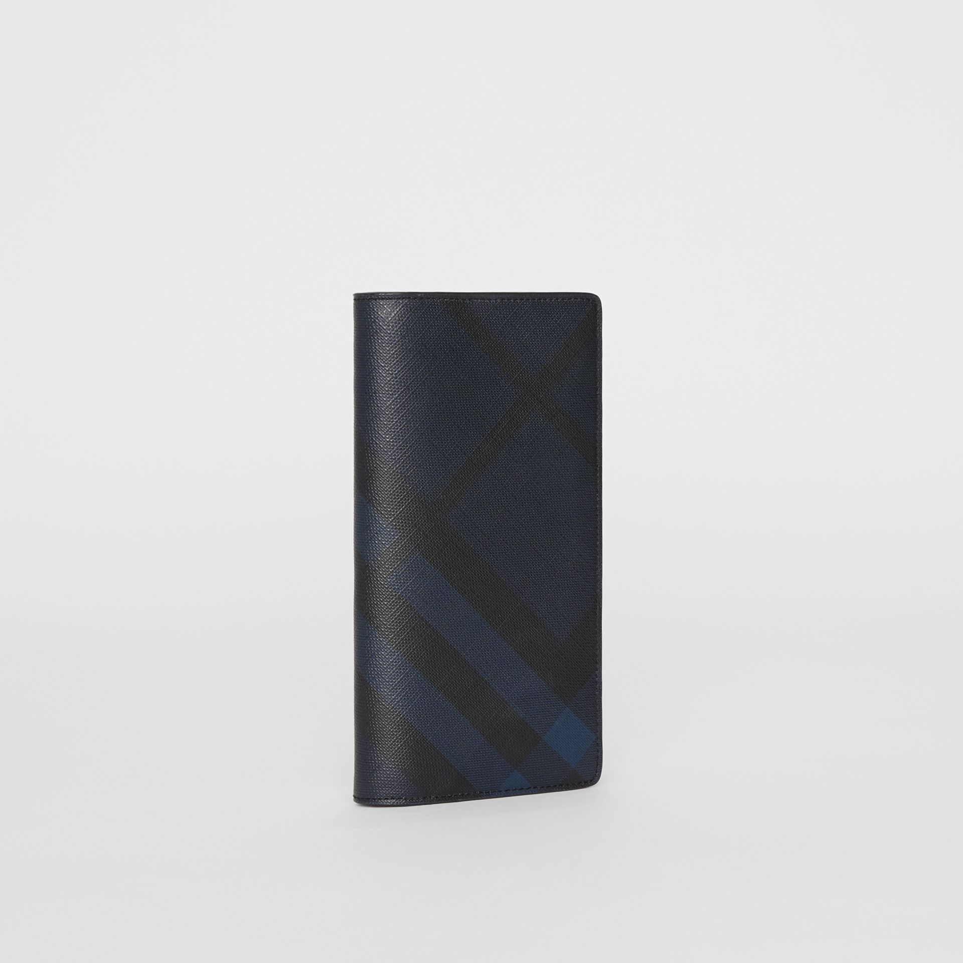 London Check and Leather Continental Wallet in Navy/black - Men | Burberry United Kingdom - gallery image 4
