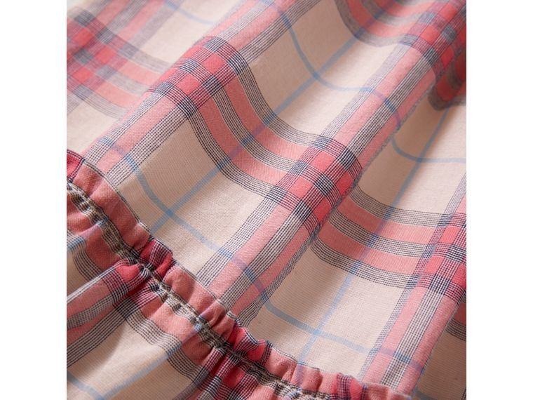 Gathered Check Cotton A-line Dress in Bright Coral Pink | Burberry - cell image 1