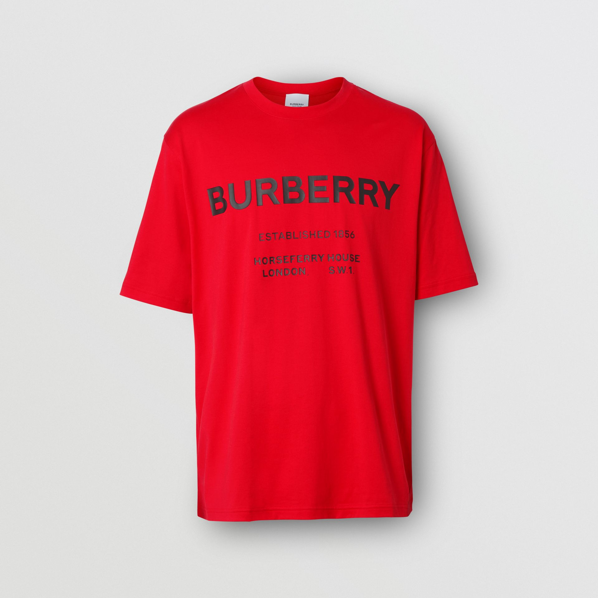 Horseferry Print Cotton T-shirt in Bright Red - Men | Burberry - gallery image 3