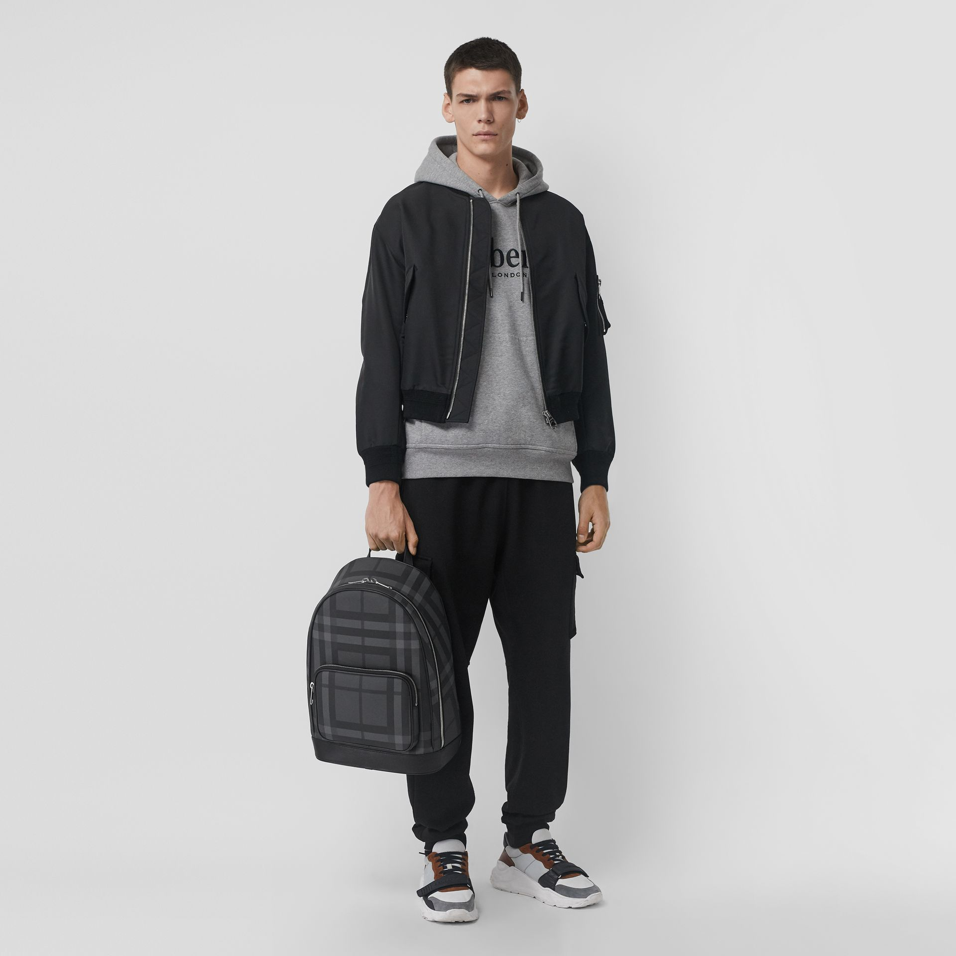 London Check and Leather Backpack in Charcoal/black - Men | Burberry United Kingdom - gallery image 2