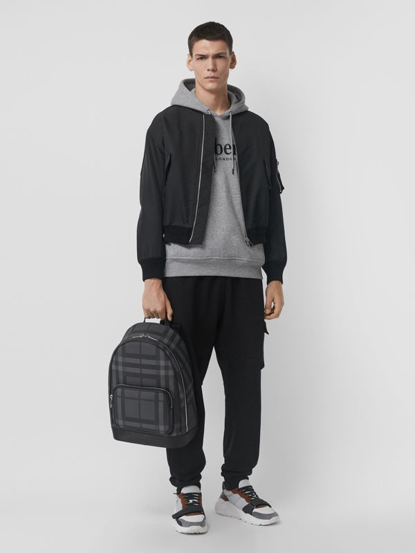 London Check and Leather Backpack in Charcoal/black - Men | Burberry - cell image 2