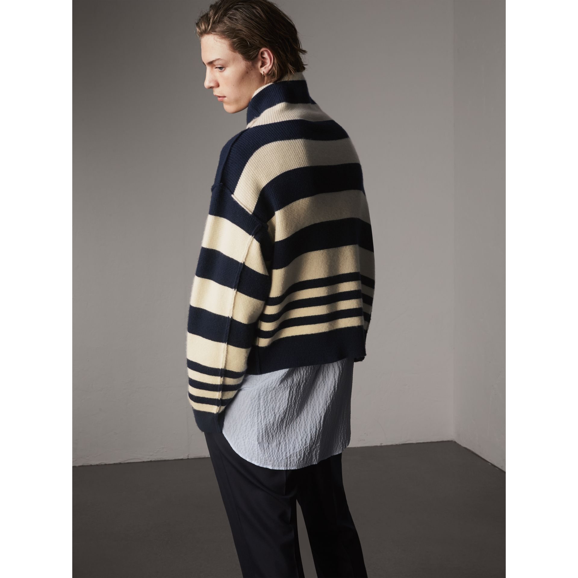 Striped Knitted Cashmere Roll-neck Sweater - Men | Burberry Australia - gallery image 3