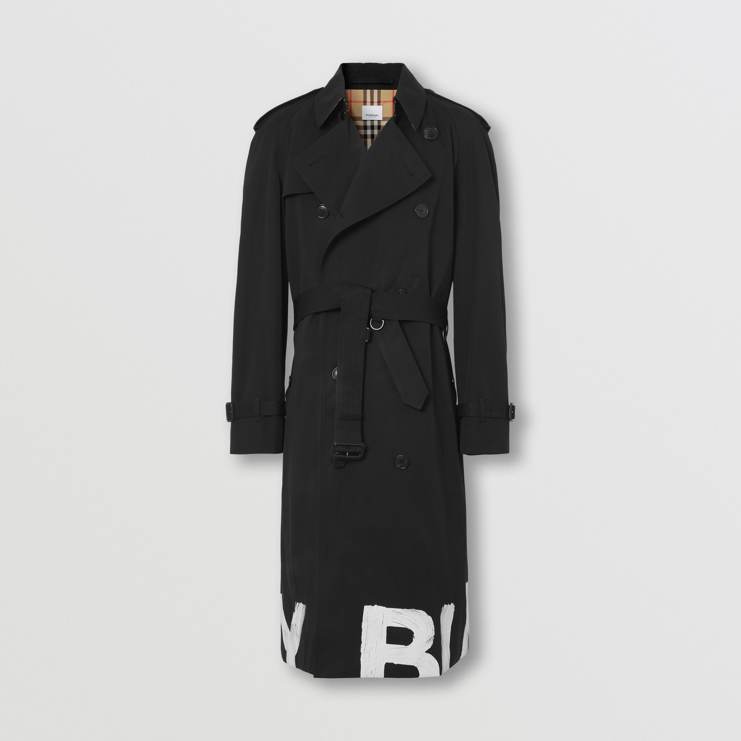 Logo Print Cotton Gabardine Trench Coat in Black - Men | Burberry - 4