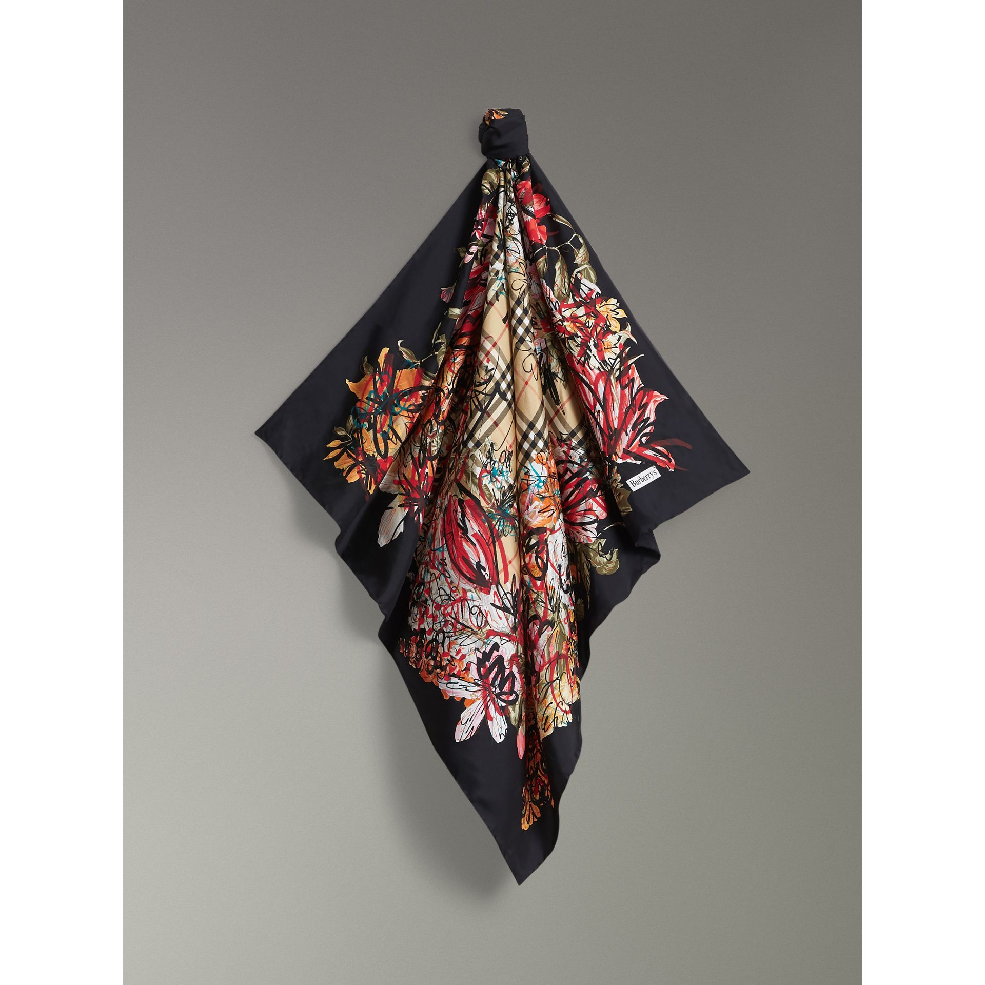 Scribble Floral Vintage Check Silk Square Scarf in Black | Burberry United Kingdom - gallery image 4