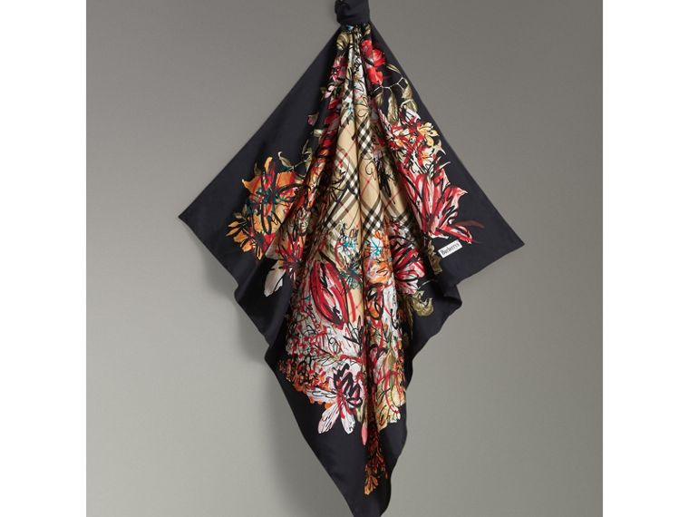 Scribble Floral Vintage Check Silk Square Scarf in Black | Burberry - cell image 4