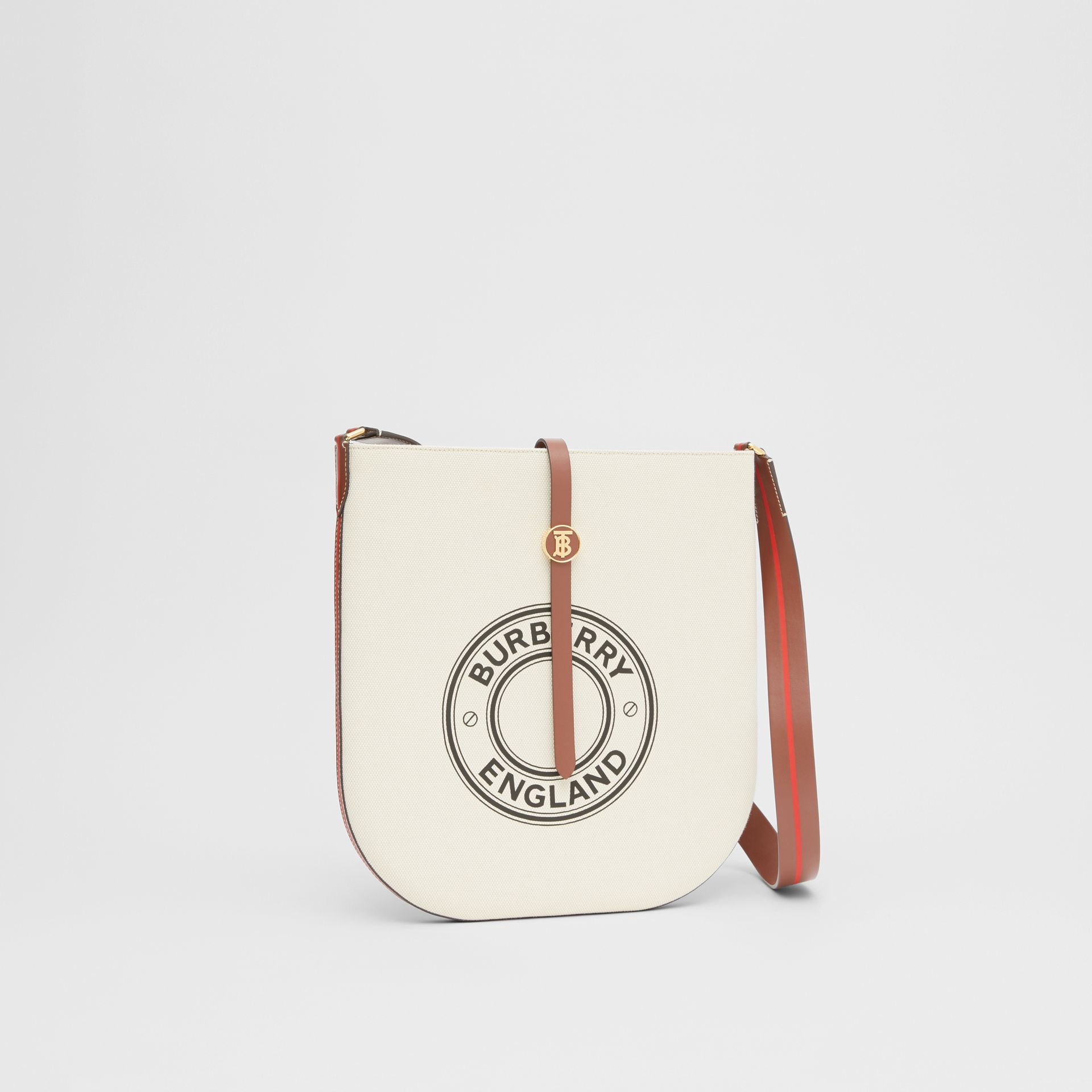 Logo Graphic Cotton Canvas and Leather Anne Bag in Natural/tan - Women | Burberry - gallery image 6