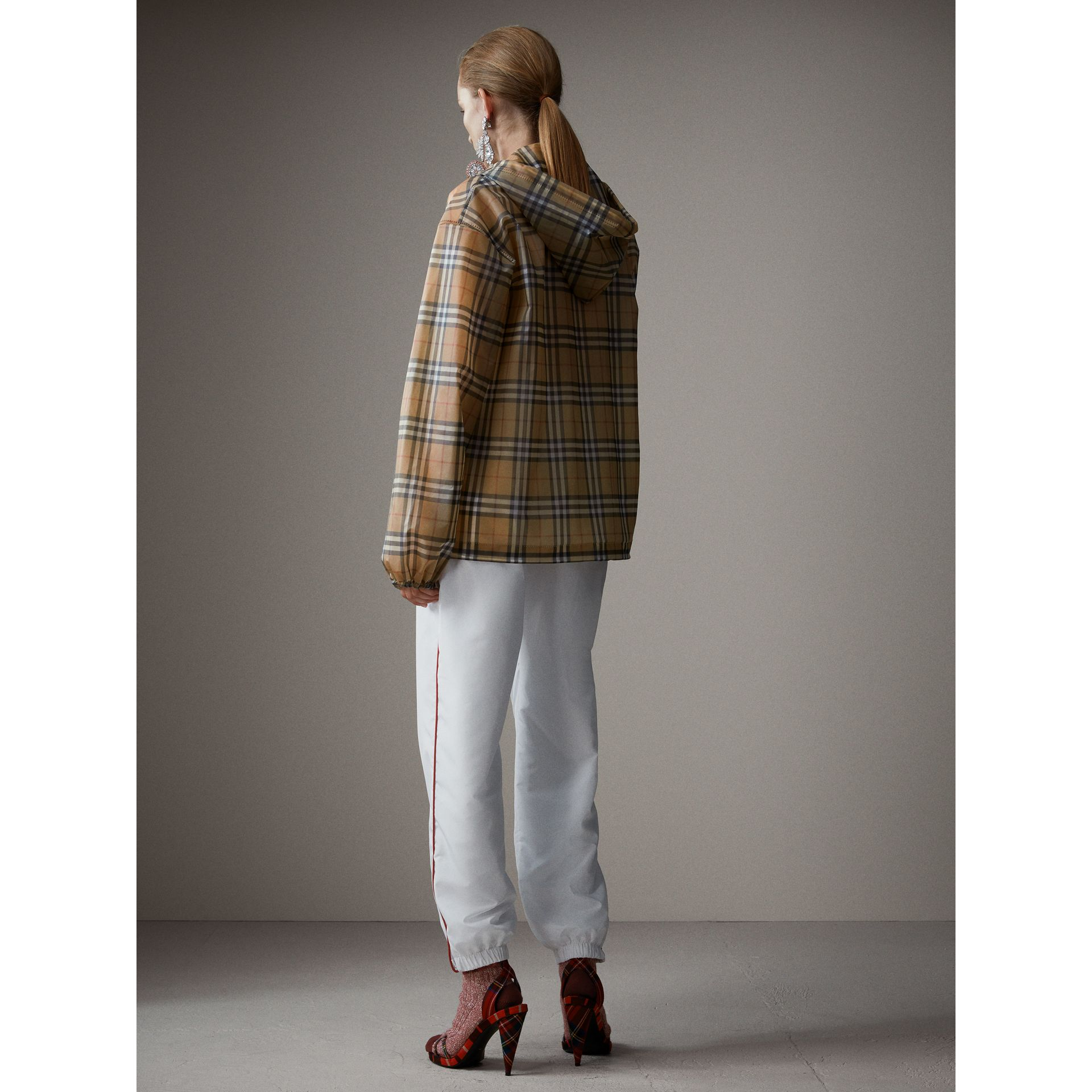 Vintage Check Soft-touch Plastic Cagoule in Antique Yellow - Women | Burberry - gallery image 3