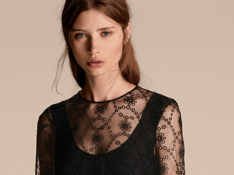 Black Embroidered Tulle Tiered Dress - cell image 4
