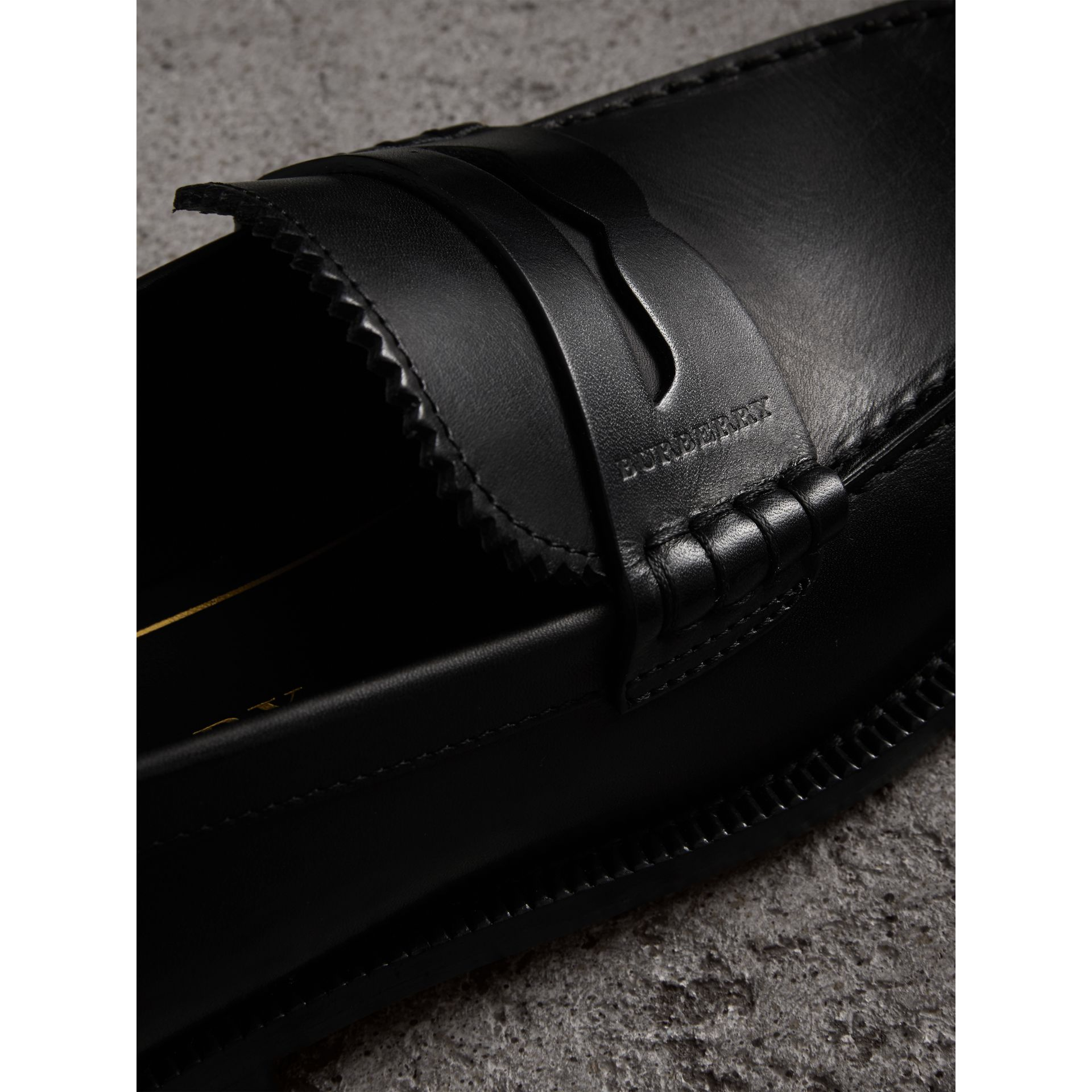 Leather Penny Loafers in Black - Women | Burberry - gallery image 2