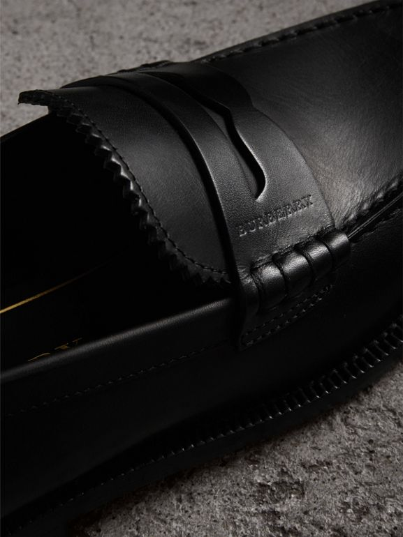 Leather Penny Loafers in Black - Women | Burberry United Kingdom - cell image 1