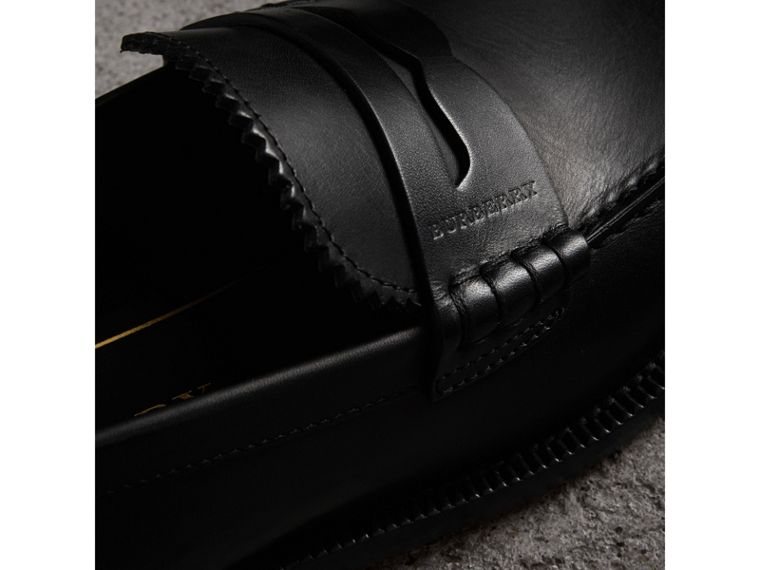Leather Penny Loafers in Black - Women | Burberry Singapore - cell image 1
