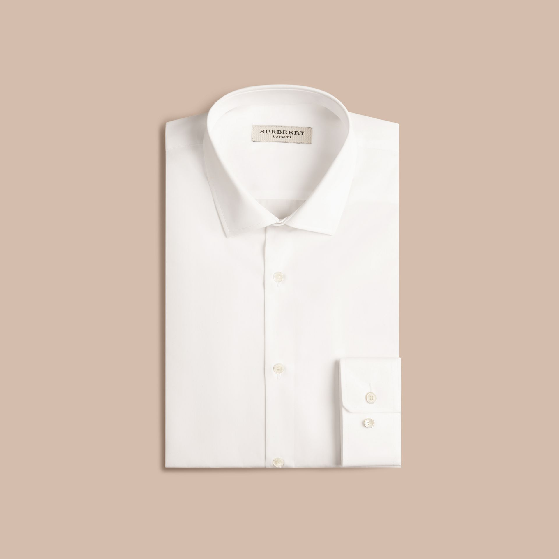 Slim Fit Cotton Poplin Shirt in White - gallery image 4