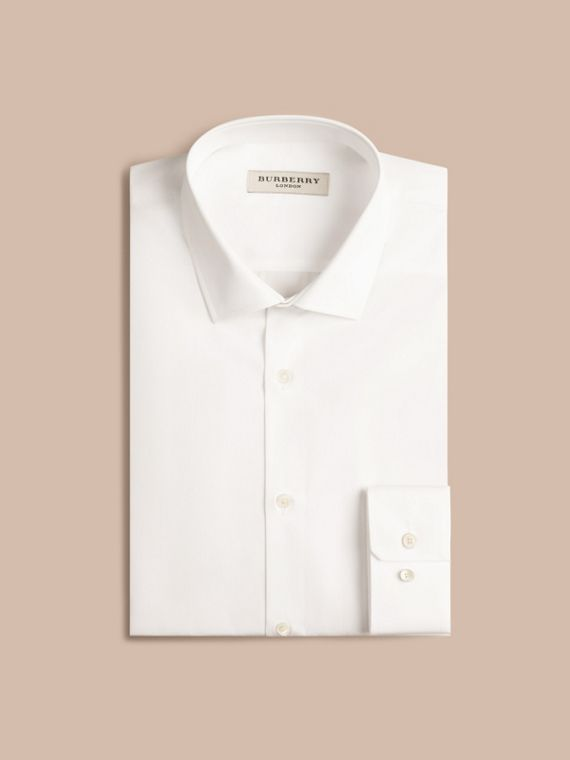 Slim Fit Cotton Poplin Shirt in White - Men | Burberry Australia