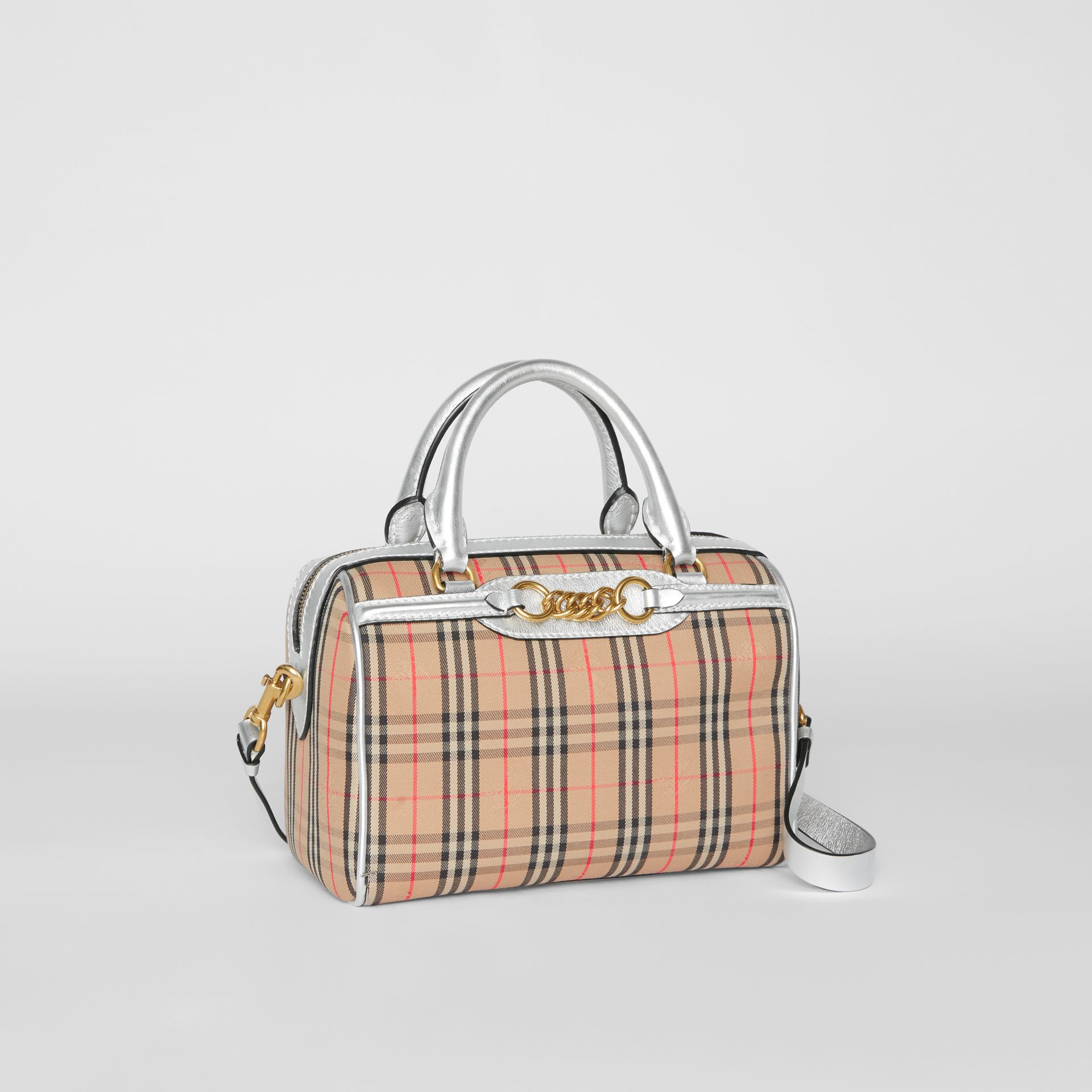 The Small 1983 Check Link Bowling Bag in Silver - Women | Burberry - gallery image 6