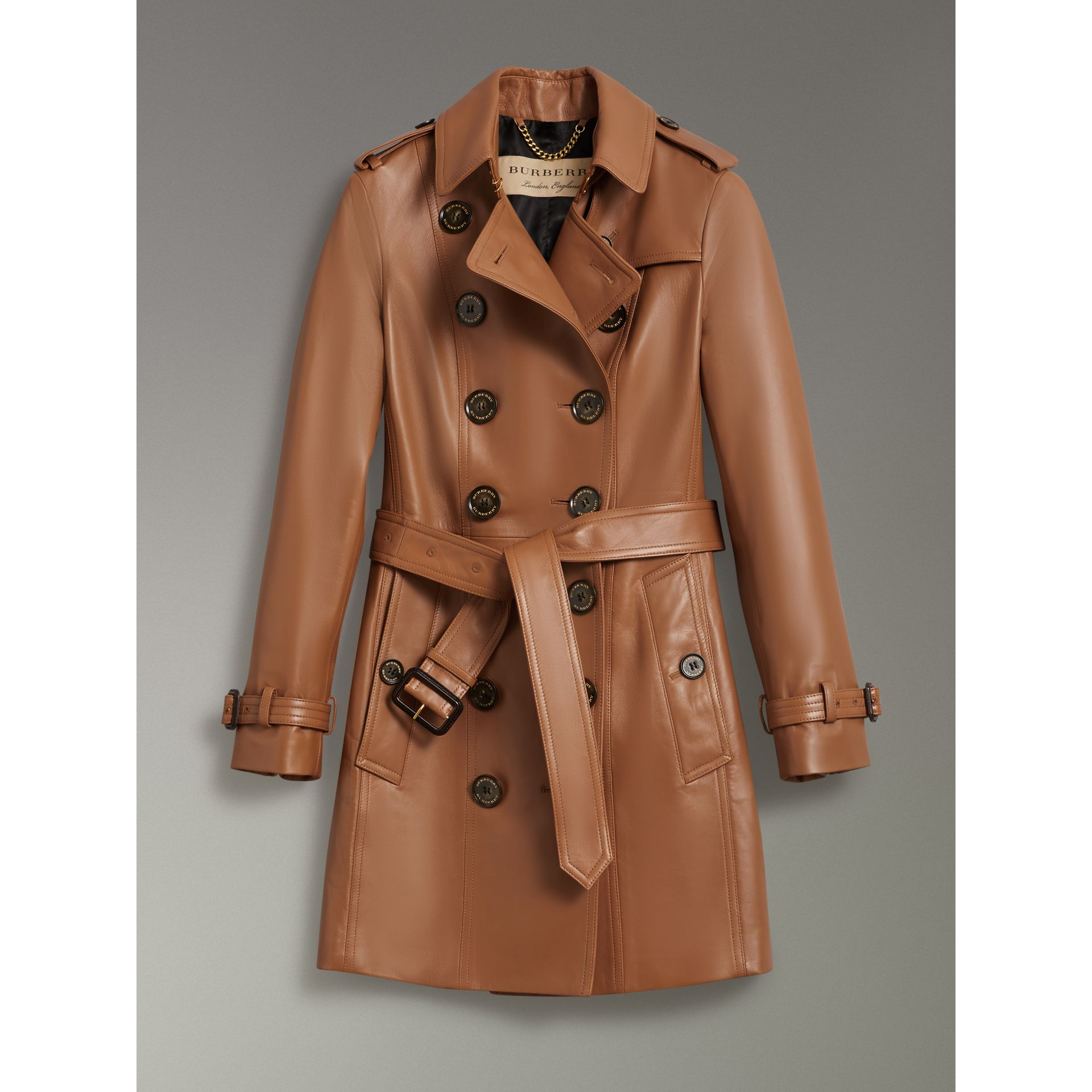Sandringham Fit Lambskin Trench Coat in Caramel - Women | Burberry United States - gallery image 3