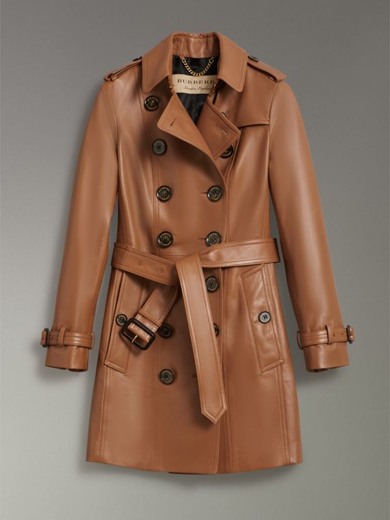 Trench coat The Sandringham in pelle di agnello (Caramello) - Donna | Burberry - cell image 3