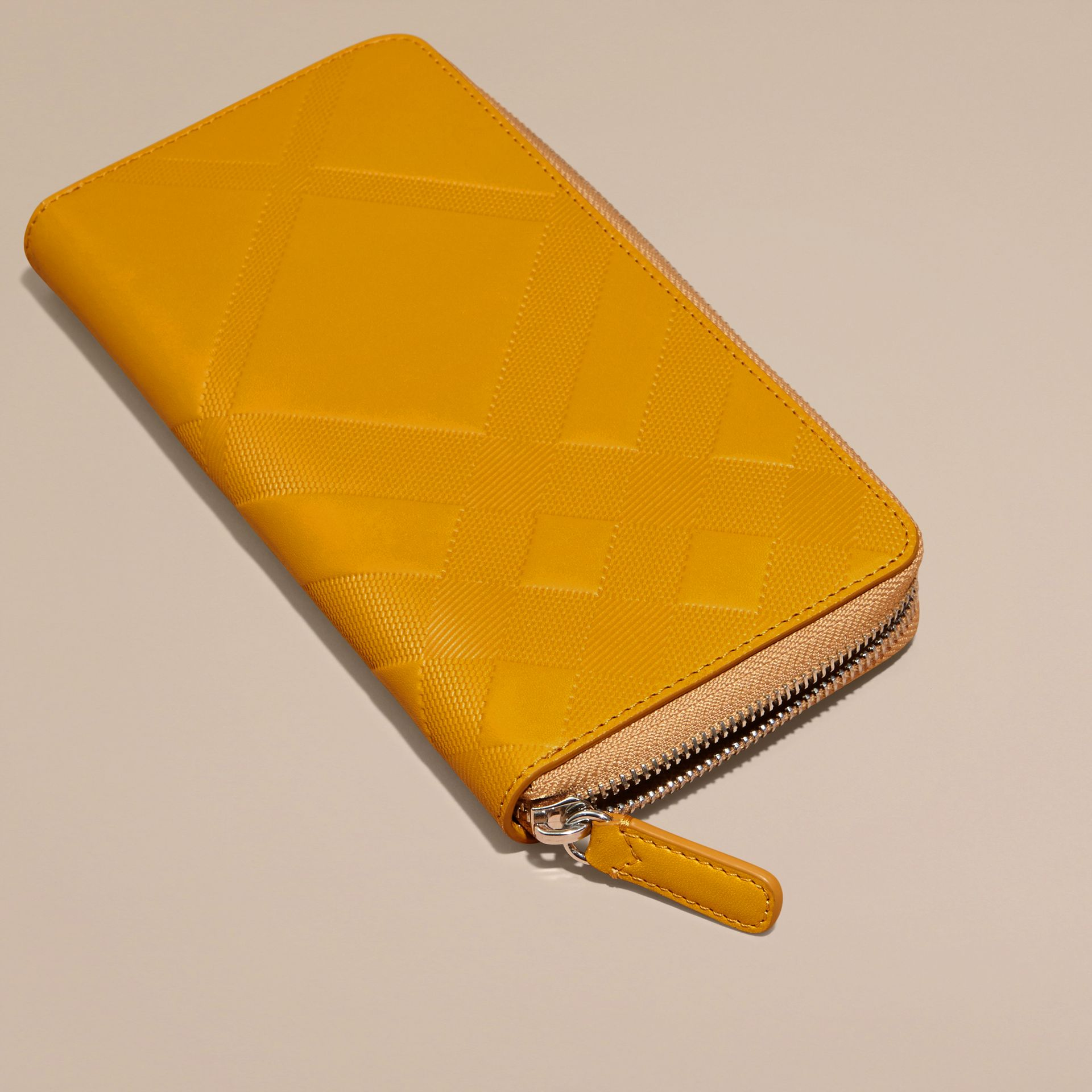 Amber yellow Check-embossed Leather Ziparound Wallet Amber Yellow - gallery image 3