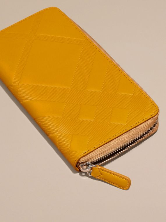 Amber yellow Check-embossed Leather Ziparound Wallet Amber Yellow - cell image 2