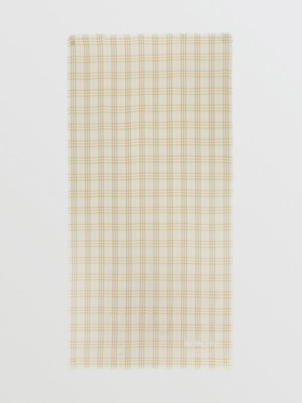 Embroidered Vintage Check Lightweight Cashmere Scarf in Pale Sage | Burberry - cell image 3