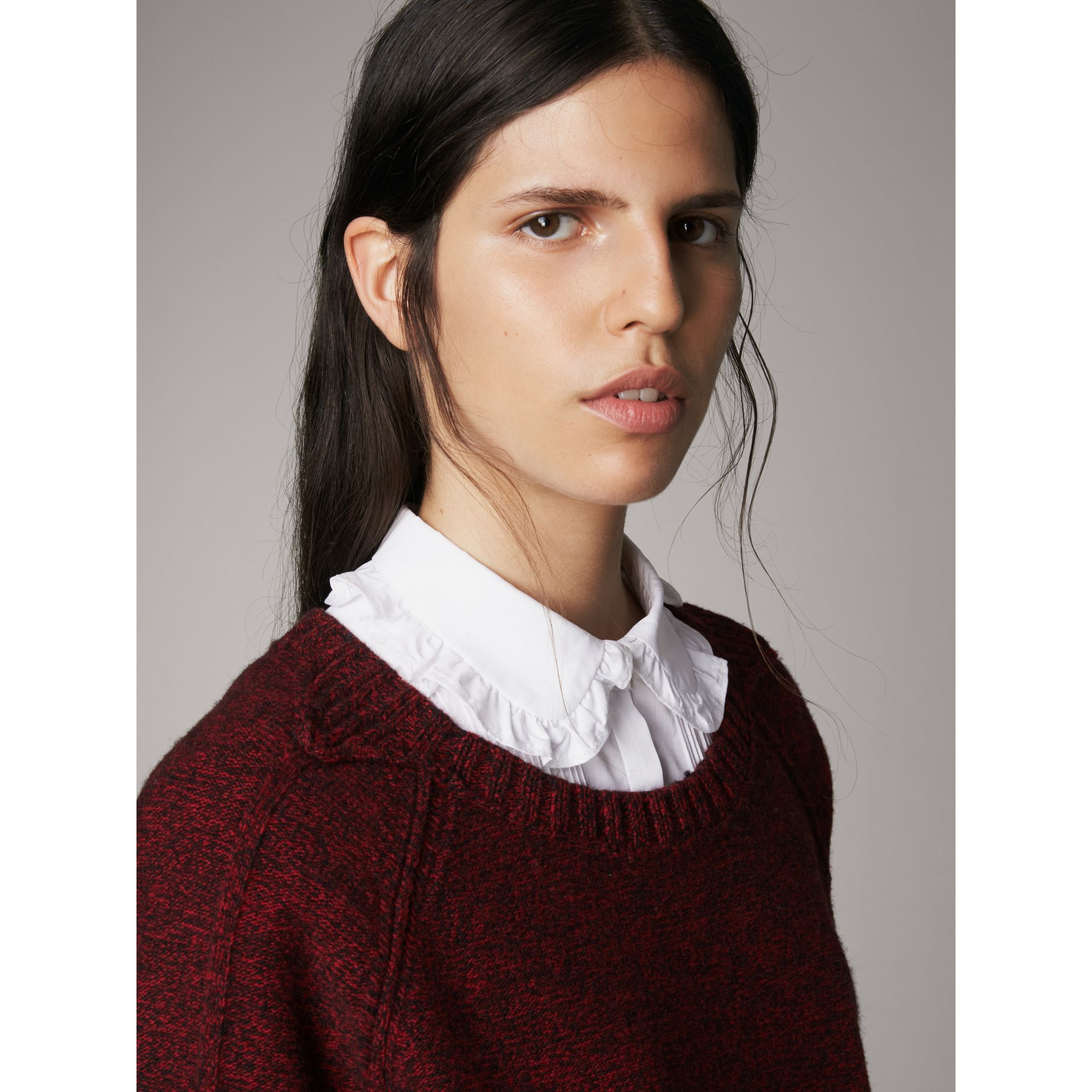 Melange Wool Sweater in Parade Red - Women | Burberry - gallery image 1