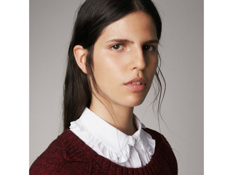Melange Wool Sweater in Parade Red - Women | Burberry Singapore - cell image 1