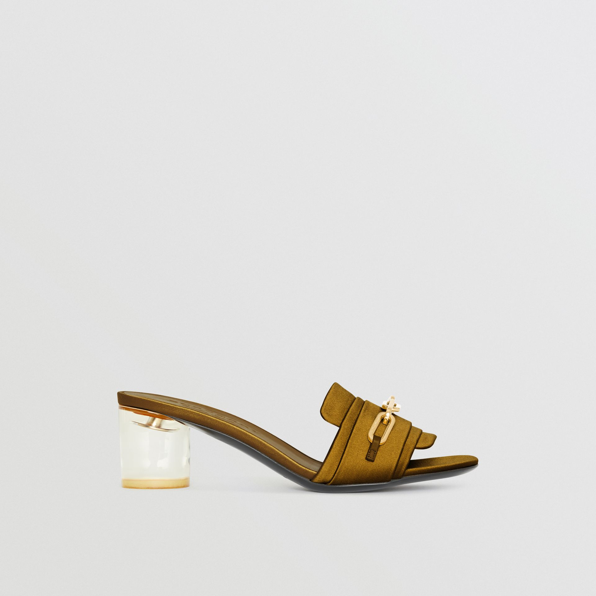 Link Detail Satin Heeled Slides in Antique Yellow - Women | Burberry - gallery image 5